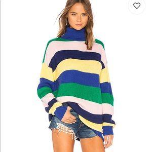Lovers & Friends Turtleneck Rainbow Stripe Dress